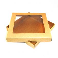 "9"" x 9"" Brown Kraft Invitation Boxes With Aperture Lid"